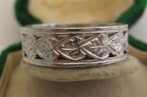 Fabulous deco platinum wedding band ring pierced engraved wow